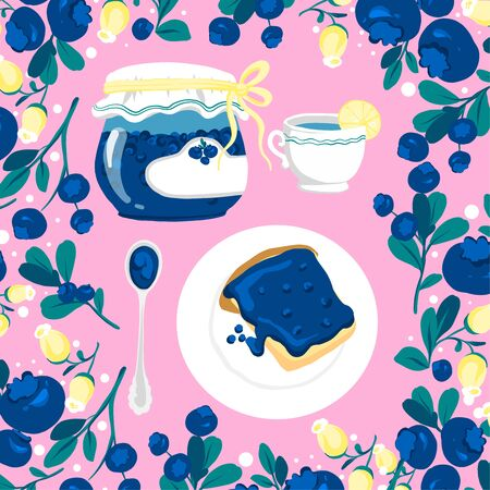 Natural organic blueberry berries jam jar, leaves, spoon, plate and cup of tea vector illustration.  イラスト・ベクター素材