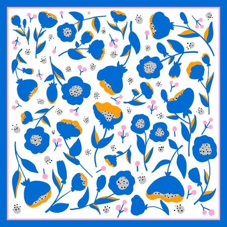 Beautiful floral vector ornament. Card, bandana print, kerchief design, napkin. Ready for print.