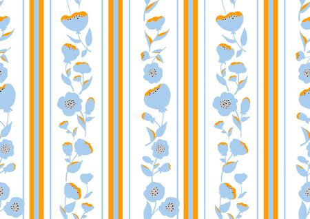 Vintage style seamless pattern with Flowers roses and stripes. EPS8