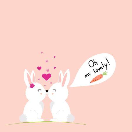 Cute rabbits in love postcard. vector illustration. EPS 10
