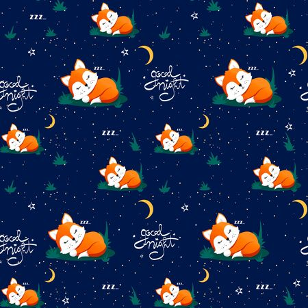 Seamless pattern with cute sleeping fox and moons, stars, lettering quote Good night. Vector illustration