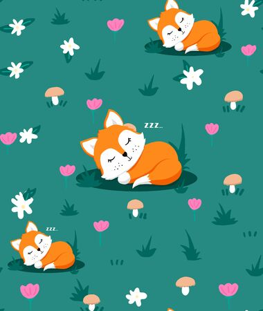 Seamless pattern with cute sleeping fox and flowers, mushrooms, herb  イラスト・ベクター素材