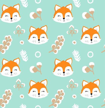 Seamless pattern with cute fox and flowers. Vector illustration