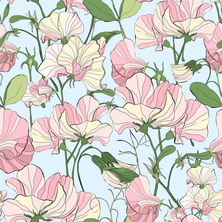 Pretty floral pattern with flowers of sweet peas. Light blue background. Elegant the template for fabric, paper, postcard.