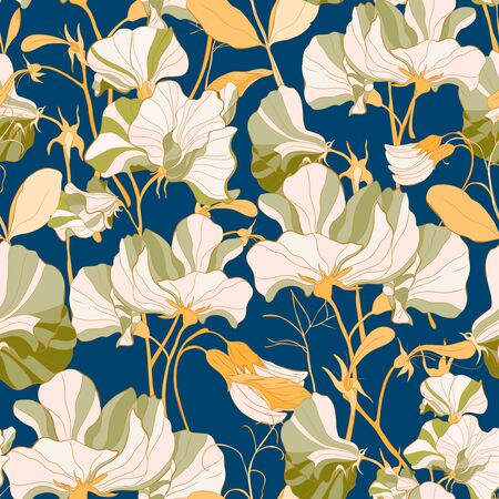 Pretty floral pattern with flowers of sweet peas. Blue background. Elegant the template for fabric, paper, postcard.