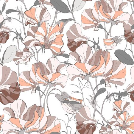 Pretty floral pattern with flowers of sweet peas. White background. Flowers, leaves, pods, and tendrils pastel-colored. Elegant the template for fabric, paper, postcard.