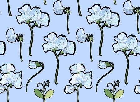 Pretty floral pattern with flowers of sweet peas. Blue background. Flowers, leaves, pods, and tendrils pastel-colored. Elegant the template for fabric, paper, postcard.  イラスト・ベクター素材
