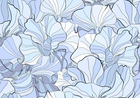 Delicate colors of a seamless pattern of a sweet pea blossom. Blue, violet and black. Can be used for fabric, postcard, print, background, desktop.