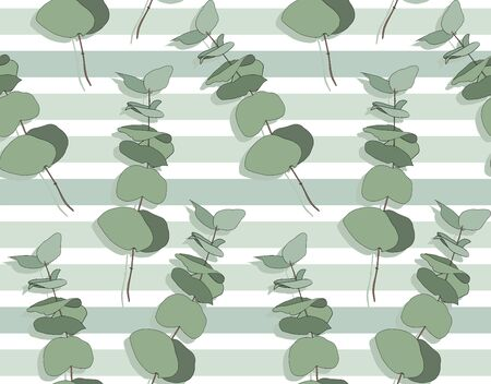 Eucalyptus different tree, foliage natural branches with green leaves seeds tropical seamless pattern. Vector decorative beautiful elegant illustration light blue striped background