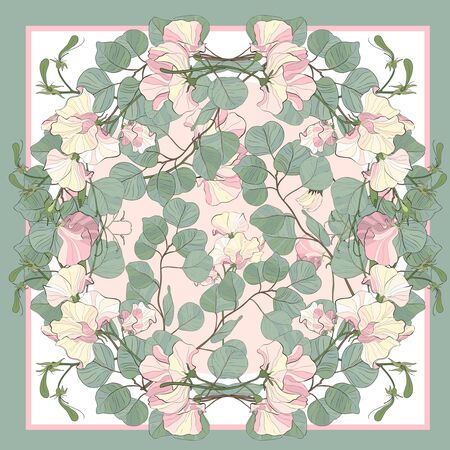 Silk scarf with blooming sweet peas and green eucalyptus dollar lea. Abstract seamless pattern with hand drawn floral elements. stock illustration  イラスト・ベクター素材