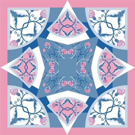 Silk scarf delicat colors with abstract flowers vector pattern with hand drawn floral elements.Card, bandana print, kerchief design, napkin Ready for print