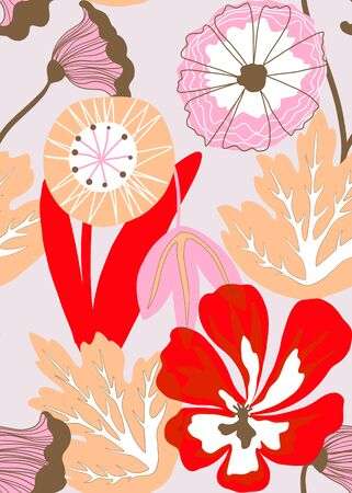 Painted tropical leaves and flowers abstract colors in a cartoon style. Seamless vector pattern on a white background  イラスト・ベクター素材