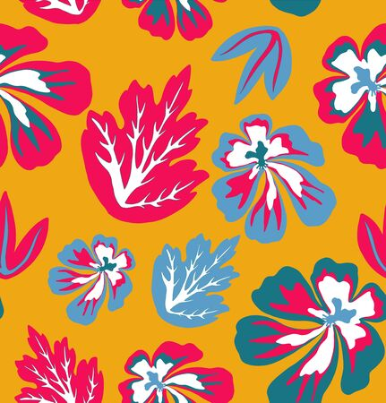 Painted tropical leaves and flowers abstract colors in a cartoon style. Seamless vector pattern on a yellow background  イラスト・ベクター素材