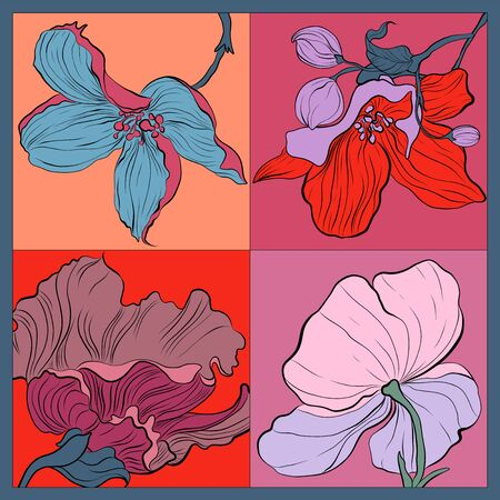 Trend colorful silk scarf with flowers. Pink, blue, violet on red.  イラスト・ベクター素材