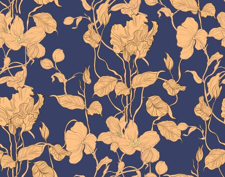 Floral seamless pattern. Plant texture for fabric, wrapping, paper. Decorative print.