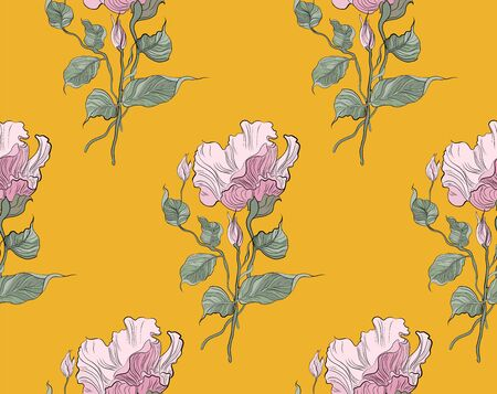 Seamless pattern, hand drawn pink pale Eustoma flowers with greene leaves on yellow background