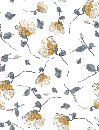 Seamless pattern, hand drawn pink pale Eustoma flowers with greene leaves on white background