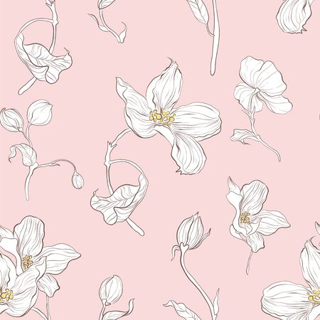 Seamless pattern, hand drawn white apple blossom with white leaves on pale pink background  イラスト・ベクター素材