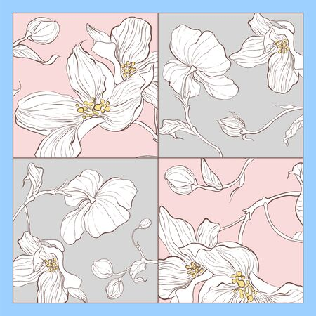 Trend colorful silk scarf with flowers. Pink,grey and white.