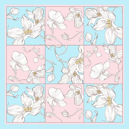 Trend colorful silk scarf with flowers. Pink, blue and white
