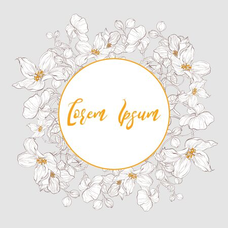 Postcard elegant template with abstract hand drawn floral elements. Apple blossom flowers. Vector decorative rustic wedding invite. Standard-Bild - 139672870