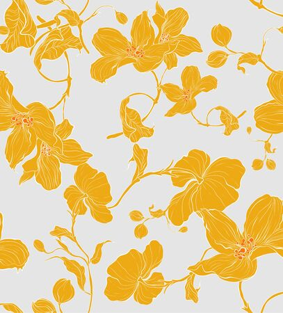 Seamless pattern, hand drawn yellow apple blossom with yellow leaves on grey background