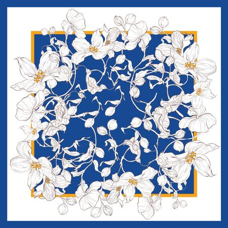 Trend colorful silk scarf with flowers. Yellow, blue and white.  イラスト・ベクター素材
