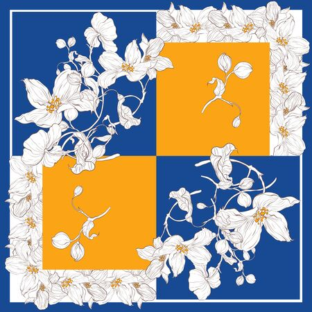 Trend colorful silk scarf with flowers. Yellow, blue and white. Illusztráció