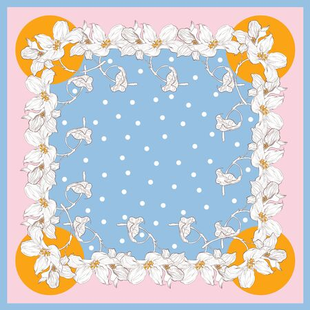 Trend colorful silk scarf with flowers. Yellow, blue, pink and white.
