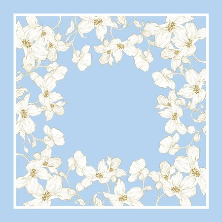 Silk scarf with apple blossom. Abstract seamless vector pattern with hand drawn floral elements.  イラスト・ベクター素材