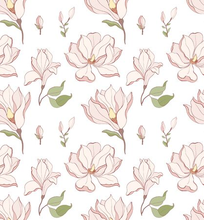 Seamless pattern, hand drawn pink pale Magnolia flowers with greene leaves on white background