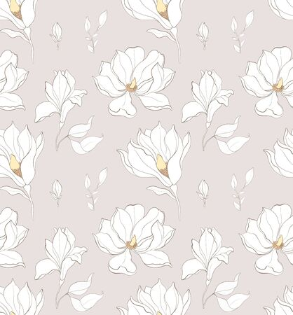 Seamless pattern, hand drawn white magnolia flowers with white leaves on grey background