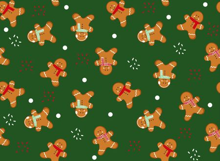 Gingerbread man seamless pattern. Cute vector background for new years day, Christmas, winter holiday, cooking, new years eve, food, etc. Cute Xmas background.