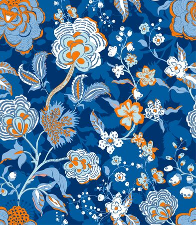 Traditional oriental seamless floral pattern. Vintage flowers background. Decorative ornament backdrop for fabric, textile, wrapping paper, card, invitation, web design.