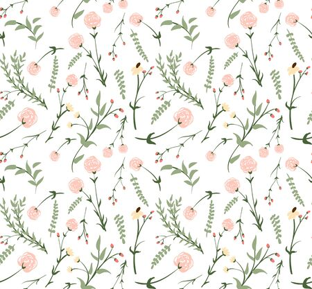 Seamless pattern with gentle hand drawn florals in pastel colors. Flower in romantic retro style for fabric, backdrop, wrappint paper, cover, cards, textile