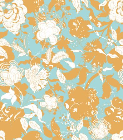 Vintage decorative seamless floral background pattern. Decorative backdrop for fabric, textile, wrapping paper, card, invitation, web design