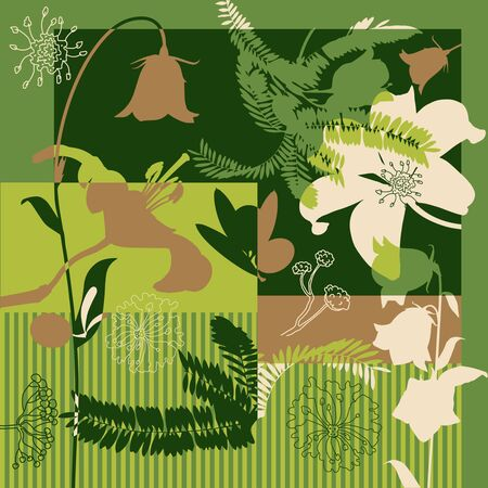 Autumn colors. Silk scarf with blooming flowers.Retro textile design collection. Golden, dark green, beige on green.  イラスト・ベクター素材