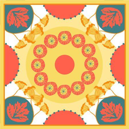 Autumn colors retro floral print. Silk scarf vector graphics. Card, bandana print, kerchief design, napkin. Ready for print.
