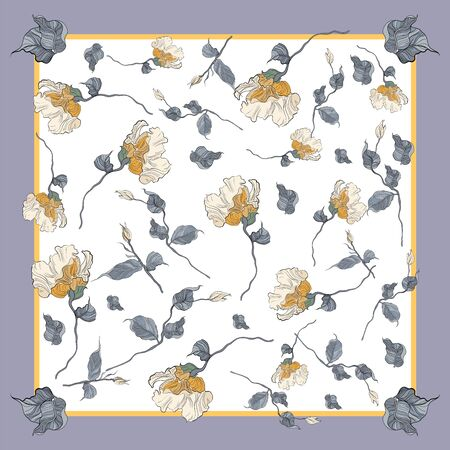 Card, bandana print, kerchief design Ready for print