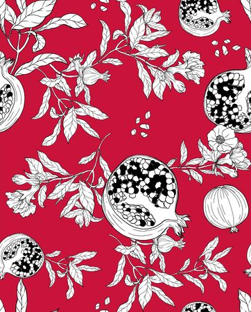 Vector seamless pattern with pomegranate fruits and seeds on white background. Design for cosmetics, spa, pomegranate juice, health care products, perfume. Best for textile or wrapping paper.