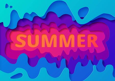 Summer paper cut background. Abstract realistic paper decoration for design textured with cardboard wavy colorful layers. 3d relief. The art of carving. Vector illustration Cover layout design template.