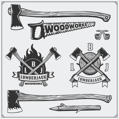 ビンテージ ラベル、エンブレム、デザイン要素のベクトルを設定します。斧とのこぎり。  イラスト・ベクター素材
