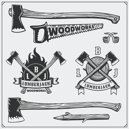 Vector set of vintage  labels, emblems and design elements. Axes and saws. Stok Fotoğraf - 69590233