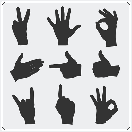 gesticulation: Set of silhouettes of people hands. Different gestures. Vector illustration. Illustration