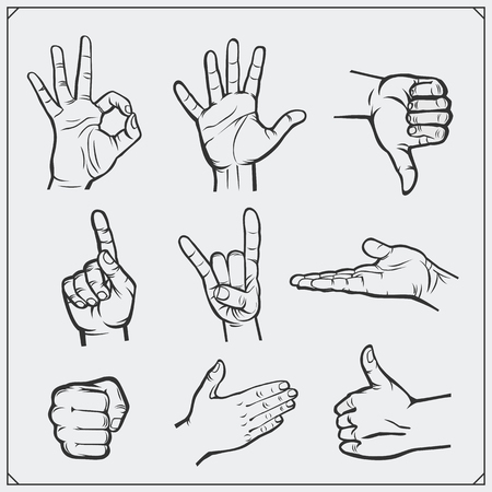 forefinger: Set of people hands. Different gestures. Vector illustration.