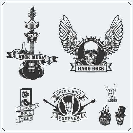 Rocknroll Music Symbols Labels Logos And Design Elements
