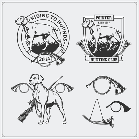 Set of Hunting Club labels.