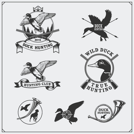 Set of hunting labels and emblems with wild duck.
