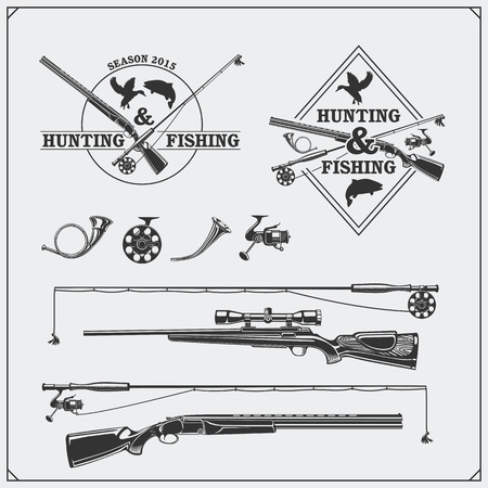 Vector elements for vintage hunting and fishing club. Labels, emblems and design elements. Guns, rods and hunting horns.