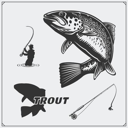 Vector l'illustrazione di un pesce della trota e degli elementi di progettazione di pesca.